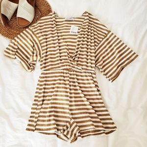 Urban Outfitters Knit Rib Striped Romper Yellow